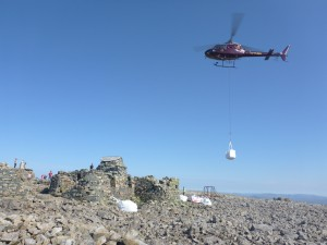 Lifting materials to repair trig point